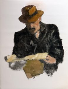 Painting of a man in a leather jacket and hat reading a map.